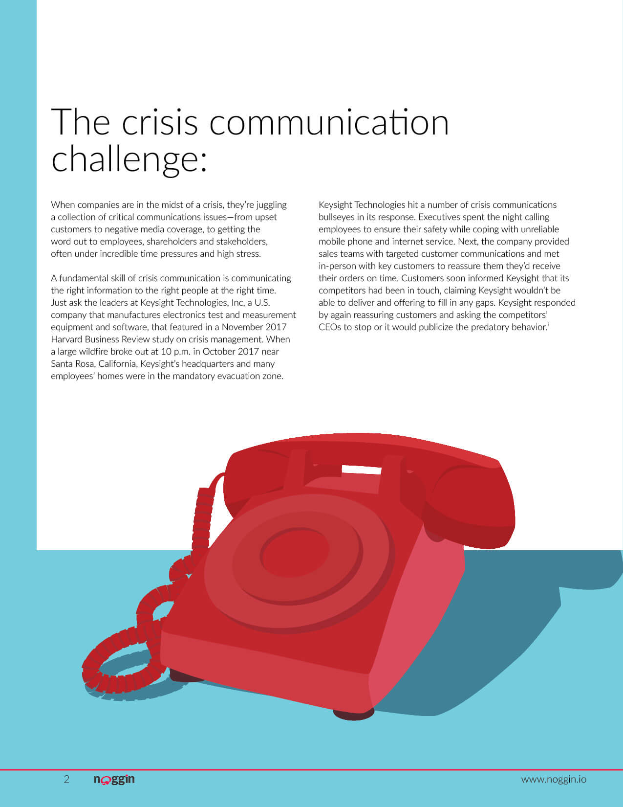 Noggin white paper guide on Effective Crisis Communication. This was created to drive marketing qualified leads for the Noggin Crisis product from the website. Page 2 of 9