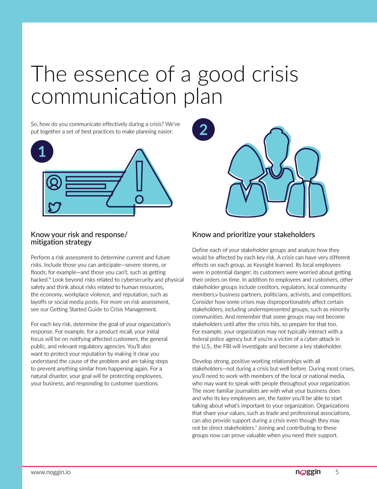 Noggin white paper guide on Effective Crisis Communication. This was created to drive marketing qualified leads for the Noggin Crisis product from the website. Page 5 of 9