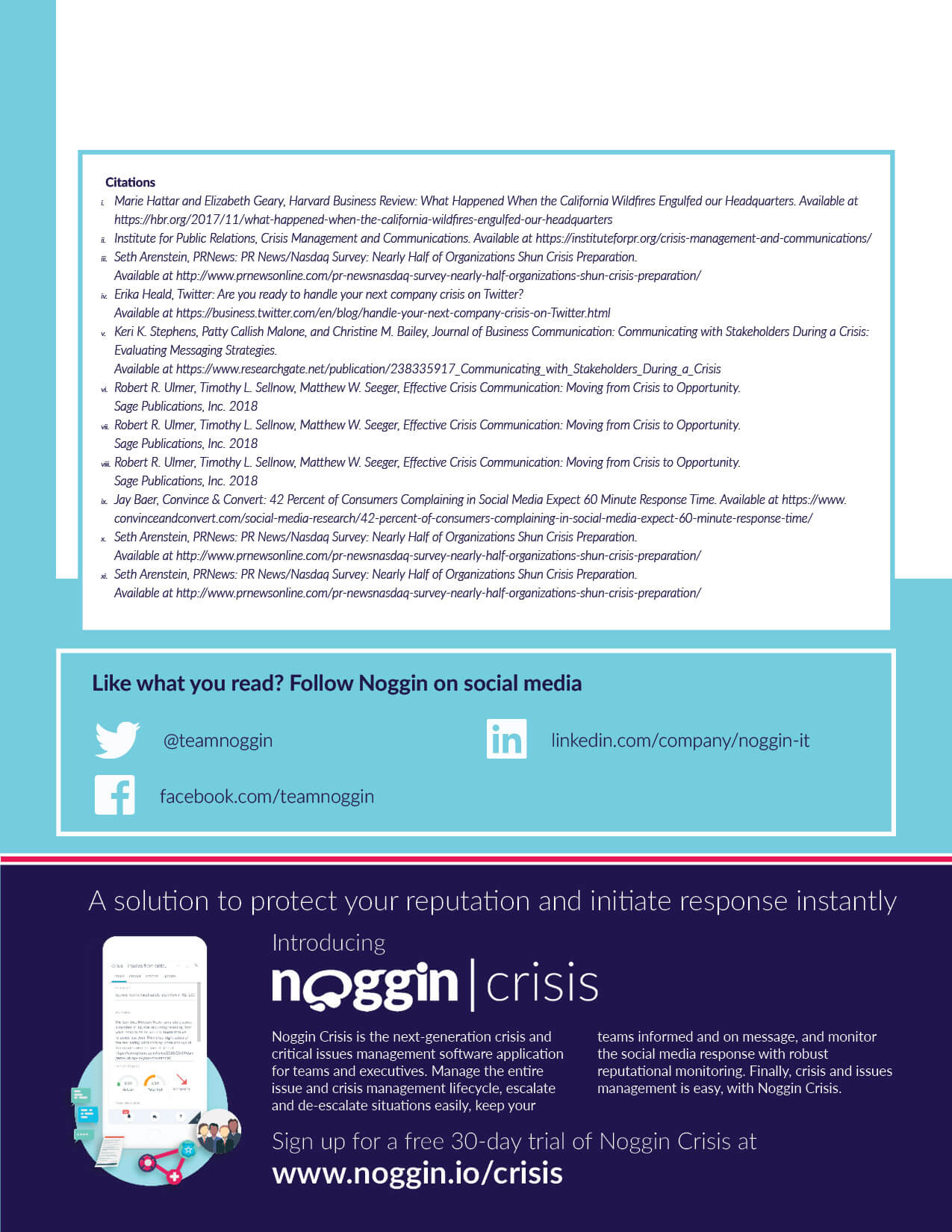 Noggin white paper guide on Effective Crisis Communication. This was created to drive marketing qualified leads for the Noggin Crisis product from the website. Page 9 of 9