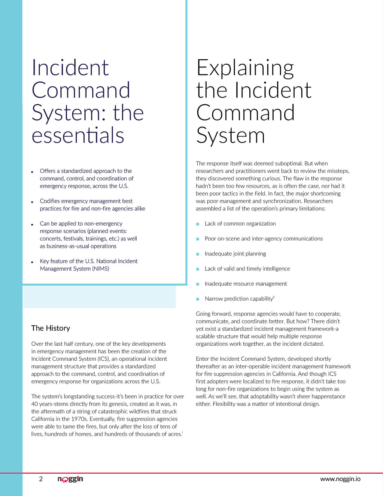 Noggin white paper guide on Understanding the Incident Command System. This was created to drive marketing qualified leads for the Noggin OCA product from the website. Page 2 of 10