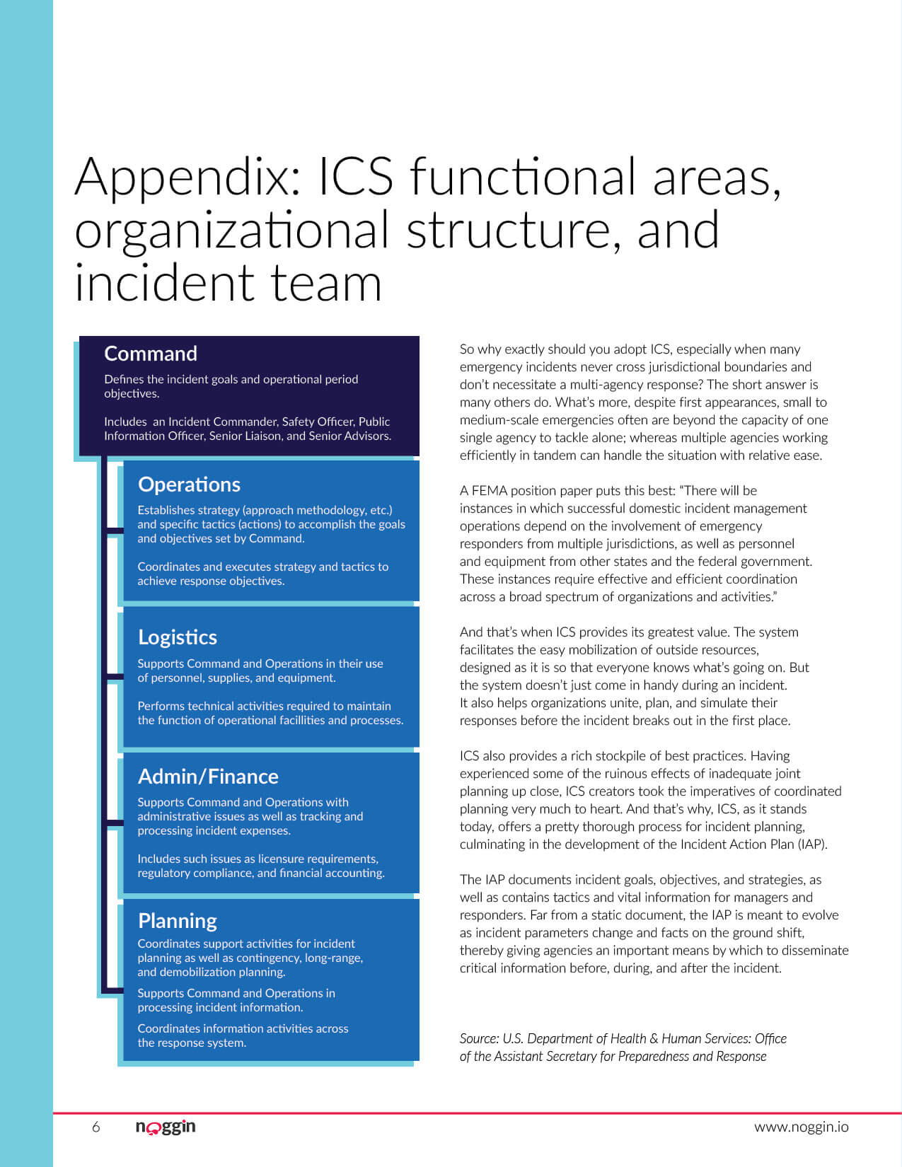 Noggin white paper guide on Understanding the Incident Command System. This was created to drive marketing qualified leads for the Noggin OCA product from the website. Page 6 of 10