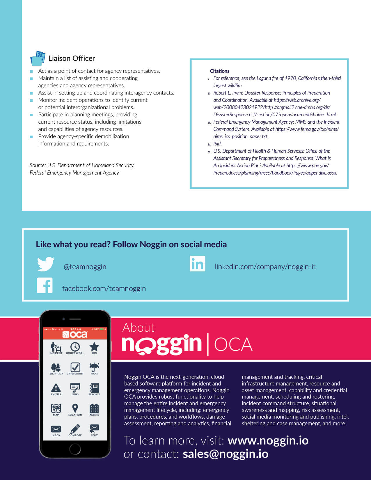 Noggin white paper guide on Understanding the Incident Command System. This was created to drive marketing qualified leads for the Noggin OCA product from the website. Page 10 of 10